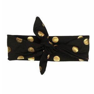 Black and gold polka dot knotted headband turban